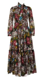 SAMANTHA SUNG ANNA DRESS #2 CREW NECK LONG PUFF SLEEVE ANKLE LENGTH SILK (VENICE CARPET)