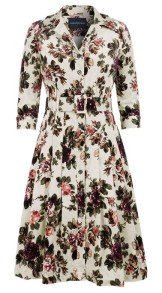 SAMANTHA SUNG AUDREY DRESS #3 SHIRT COLLAR 3/4 SLEEVE CORDUROY (AUTUMN ROSE)