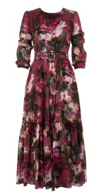 SAMANTHA SUNG ANNA DRESS #2 CREW NECK LONG PUFF SLEEVE ANKLE LENGTH SILK (RENOIRE ROSE)