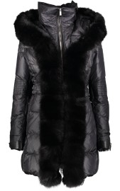 FLO & CLO BELISSIMA DOWN COAT WITH FOX COLLAR BLACK