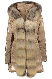FLO & CLO BELISSIMA DOWN COAT WITH FOX COLLAR CAMEL