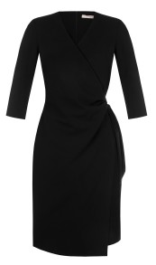 RINASCIMENTO  3/4 SLEEVE WRAP DRESS BLACK