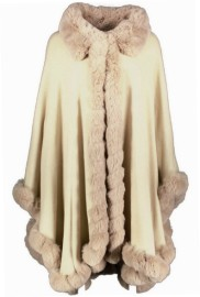 PARIS PICKED CAPE FAUX FUR TRIM BEIGE