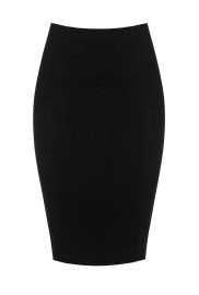 RINASCIMENTO CABLE KNIT PENCIL SKIRT BLACK