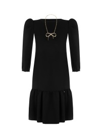 RINASCIMENTO DRESS WITH GOLD NECKLACE & RUFFLE HEM BLACK