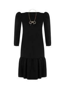 RINASCIMENTO DRESS WITH GOLD NECKLACE & RUFFLE HEM BLACK