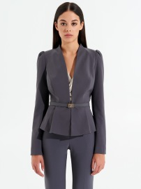 RINASCIMENTO FITTED STRETCH BLAZER BELTED BLACK