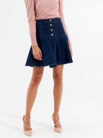 RINASCIMENTO STRETCH DENIM SKIRT & GOLD BUTTONS DARK BLUE