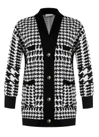 RINASCIMENTO HOUNDSTOOTH KNIT COTTON BLEND CARDIGAN BLACK & WHITE