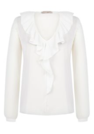 RINASCIMENTO RUFFLE NECK BLOUSE WHITE/CREAM