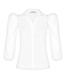 RINASCIMENTO CLASSIC SHIRT AND PUFF SHOULDER WHITE