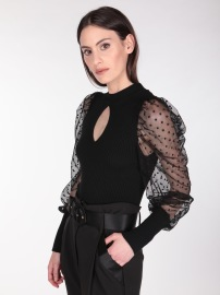 RINASCIMENTO BLOUSE WITH DOT TULLE LONG SLEEVE BLACK