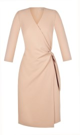 RINASCIMENTO  3/4 SLEEVE WRAP DRESS NUDE