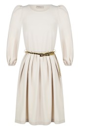 RINASCIMENTO DRESS WITH CHAIN BELT OFF WHITE