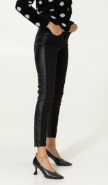 RINASCIMENTO SKINNY PANTS WITH FAUX LEATHER BACK BLACK