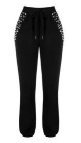 RINASCIMENTO COTTON SWEAT PANTS WITH PEARLS AND STUD