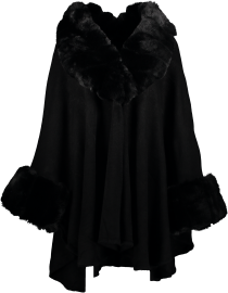 PARIS PICKED CAPE CHUNKY FAUX FUR TRIM BLACK