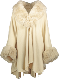 PARIS PICKED CAPE CHUNKY FAUX FUR COLLAR & CUFFS LIGHT BEIGE