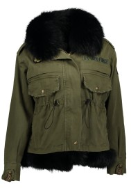 HISTORY REPEATS FUR LINED PARKA WITH FOX COLLAR BLACK