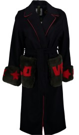 HISTORY REPEATS WOOL BELTED LOVE COAT WITH SHEARLING CUFFS