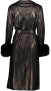 LEVINSKY BLACK LEATHER TRENCH WITH FOX CUFFS BLACK