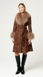 CHARLOTTE SIMONE PENNY COAT FAUX SUEDE + LAMBSWOOL | LEOPARD