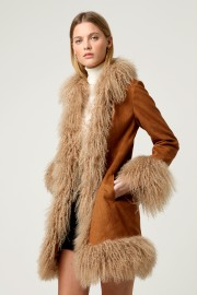 CHARLOTTE SIMONE COAT FAUX SUEDE & LAMBSWOOL