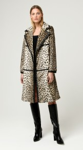 CHARLOTTE SIMONE DOTTY COAT FAUX FUR + FAUX LEATHER TRIM