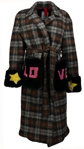 HISTORY REPEATS LOVE  WOOL BELTED LOVE COAT WITH SHEARLING CUFFS