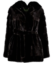 LEVINSKY BELTED MINK HOODED JACKET BLACK