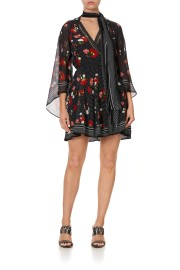CAMILLA SILK SHOR DRESS WITH NECK TIE COASTAL PARISIENNE