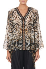 CAMILLA SILK V NECK BLOUSE NIGHT WAITING FOR DAY