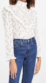 PHILOSOPHY DI LORENZO SERAFINI SILK FLORAL & LACE HIGH NECK BLOUSE