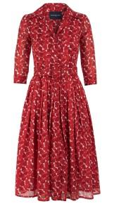 SAMANTHA SUNG CEZANNE HEARTS DRESS COTTON MUSOLA WHITE & RED