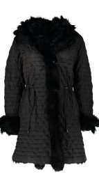 LEVINSKY QUILTED PARKA FUR LINED REVERSIBLE BLACK