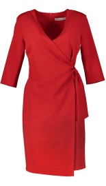 RINASCIMENTO  3/4 SLEEVE WRAP DRESS RED