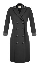 RINASCIMENTO CREPE SMOKING BLAZER DRESS BLACK