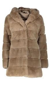 LEVINSKY HOODED REX COAT CAFE LATE ECO SUSTAINABLE FUR