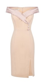 RINASCIMENTO CREPE SMOKING OFF SHOULDER DRESS ROSE PINK