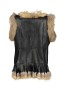 MARUSCHKA DE MARGO BLACK LEATHER & FUR FRINGES VEST