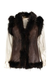 MARUSCHKA DE MARGO BROWN CROCO NAPPA & FUR VEST