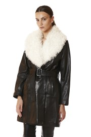 NOUR HAMMOUR LEATHER TRENCH SHEARLING COLLAR