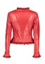 RUFUS RED LEATHER JACKET WITH SUEDE FRILLS