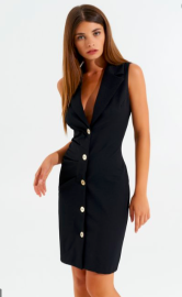 RINASCIMENTO BLACK SLEEVELESS BLAZER DRESS