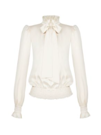 RINASCIMENTO WHITE TIE NECK BLOUSE