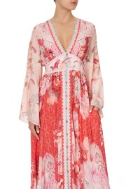 CAMILLA SILK KIMONO SLEEVE DRESS WITH SHIRRING DETAIL PALACE MUSE