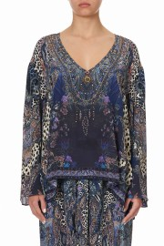 CAMILLA SILK V NECK BLOUSE FESTIVAL EXPRESS