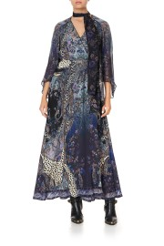 CAMILLA SILK LONG WRAP DRESS WITH NECK TIE FESTIVAL EXPRESS