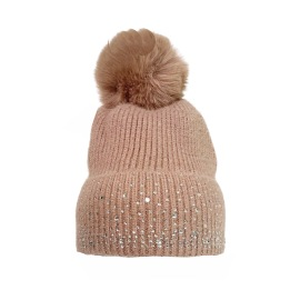 PARIS PICKED HAT WITH FLEECE LINED POMPOM AND SWAROVSKI CRYSTALS