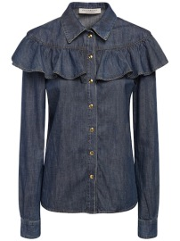 PHILOSOPHY DI LORENZO SERAFINI RUFFLED COTTON DENIM SHIRT